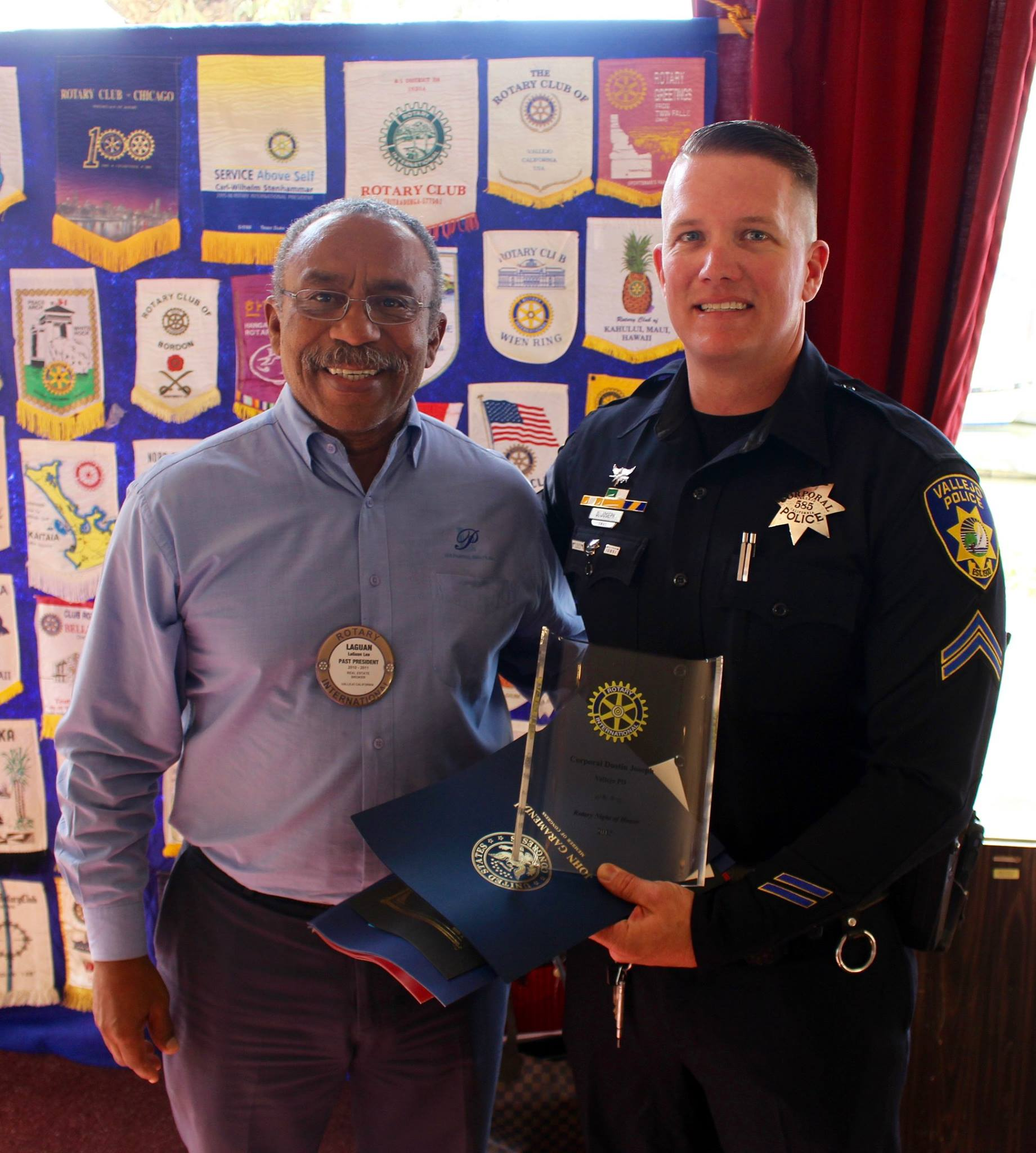 Officer Dustin Joseph received the Vallejo Rotary Club's Officer of the Year award in 2016.