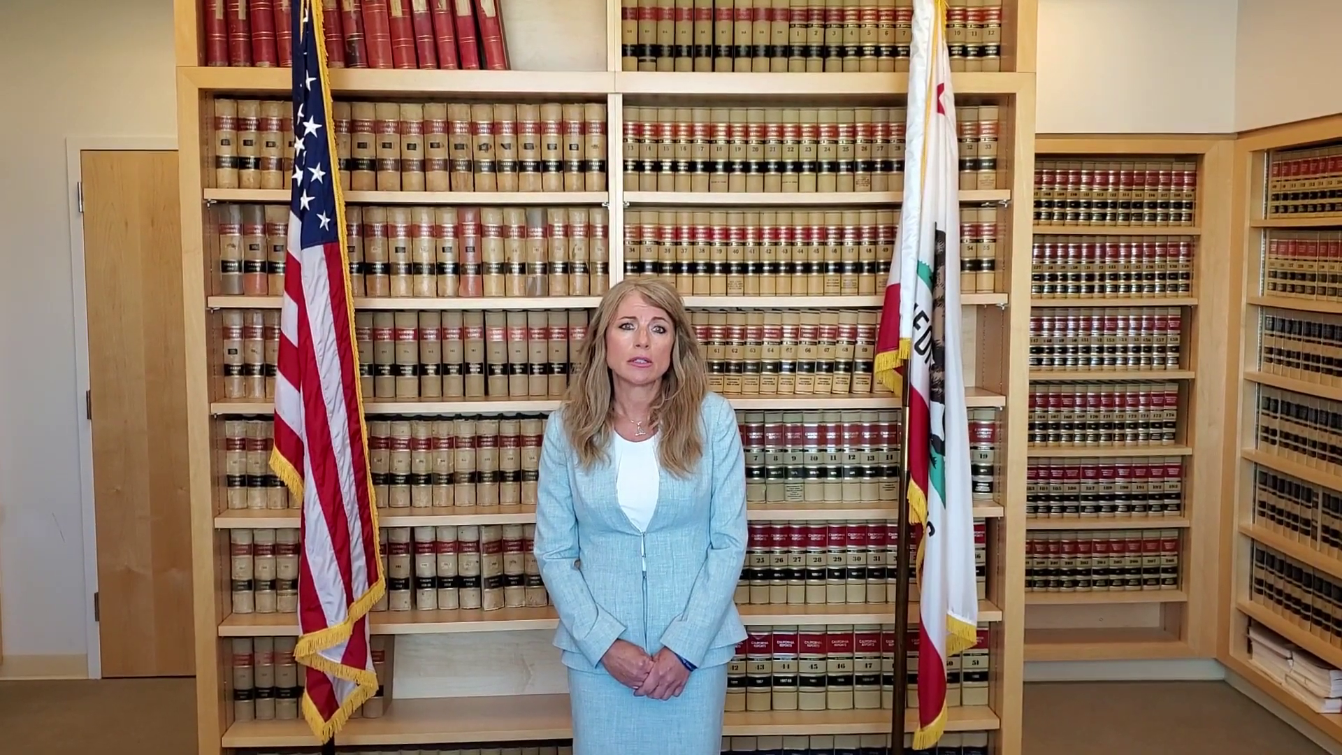 District Attorney Krishna Abrams in a video from last year.